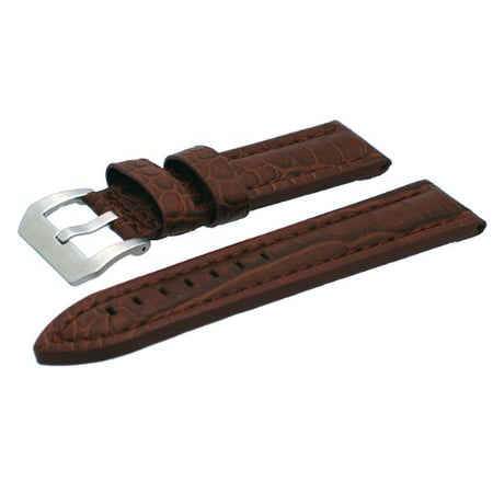 Rev 24mm Thick Brown Alligator-Embossed Leather Watch Band Strap With Heavy Duty Stainless Steel Buckle Croco Embossed Leather Strap Watch