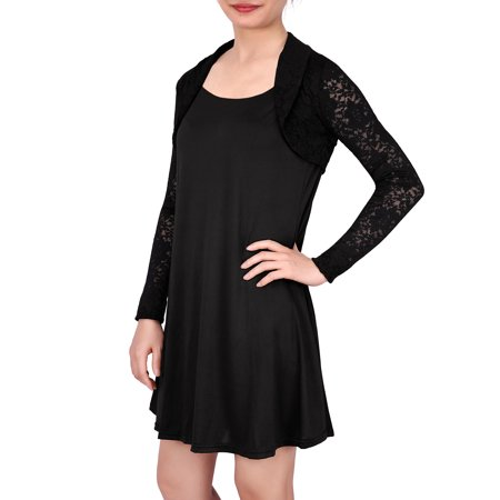 HDE Womens Floral Lace Shrug Long Sleeve Bolero Open Front Cropped Cardigan (Black, - Crop Tie Bolero
