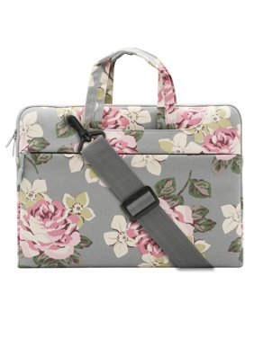 Mosiso Laptop Shoulder Bag for 15-15.6 Inch 2017/2016 MacBook Pro with Touch Bar A1707, MacBook Pro, Notebook, Compatible with 14 Inch Ultrabook, Canvas Rose Messenger Case Cover Sleeve, Gray