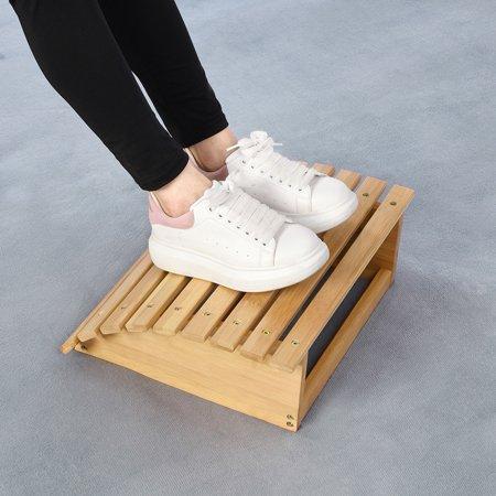 无 Footrest , Foot Stool,Ergonomic Bamboo Footrest Foot Stool Under Desk Footrest with Massager Rollers for Office Home - image 1 de 8
