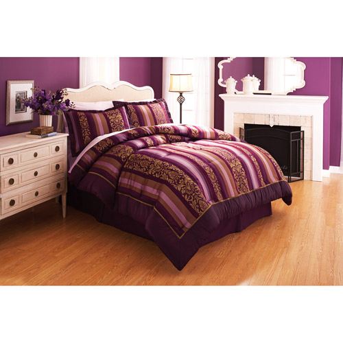 Better Homes and Gardens Antique Wallpaper Stripe Purple Bedding Comforter Set