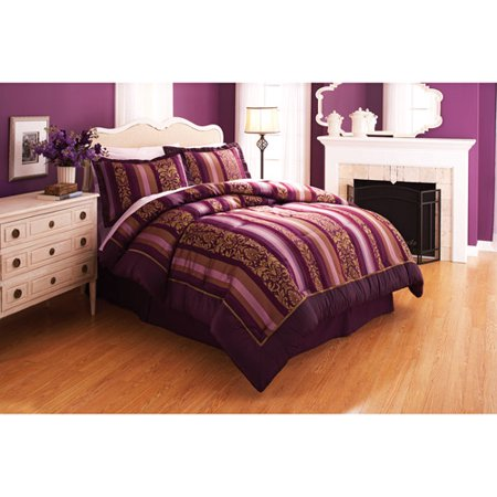 Product better homes and gardens antique wallpaper stripe purple bedding comforter set sisterspd