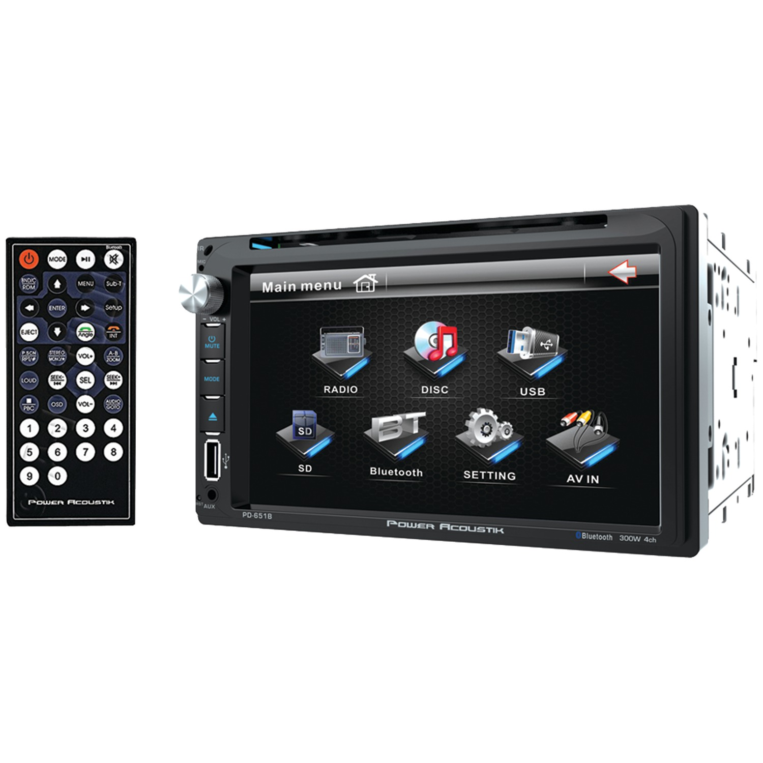 "Power Acoustik PD 651B 6.5"" Double-DIN In-Dash LCD Touchscreen DVD Receiver with Bluetooth"