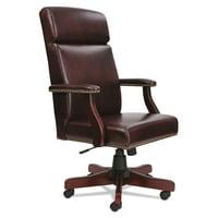 Alera Traditional Series High back Chair Mahogany Finishoxblood Vinyl