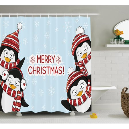 476335ce Christmas Shower Curtain, New Year Quote Cute Penguins with Hats and Scarf  Snowflakes Kids Children