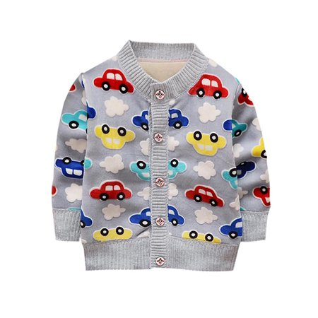 Toddler Baby Boy Girl Warm Cartoon Print Cotton O-Neck Cardigan Knitted (Baby Boy Cardigan)