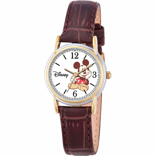 Mickey Mouse Women's Cardiff Watch, Brown Strap