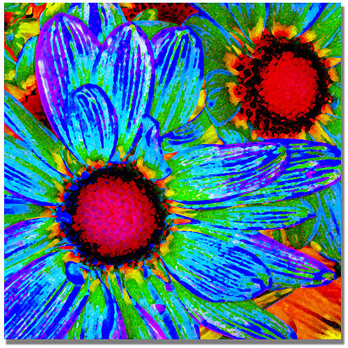 "Trademark Fine Art ""Pop Daisies II"" Canvas Wall Art by Amy Vangsgard"