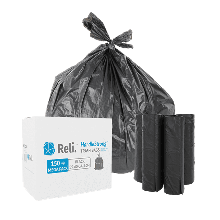 Reli. 55 Gallon Trash Bags with Handles (150 Count) - Black 55 Gallon Drum Liners
