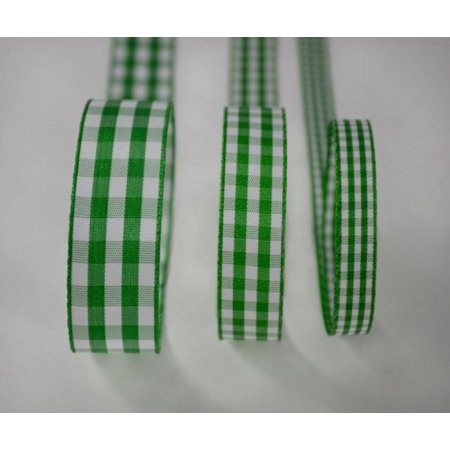 Ribbon Bazaar Taffeta Gingham Check 7/8 inch Green 25 yards Ribbon - Green Ribbon Tattoo