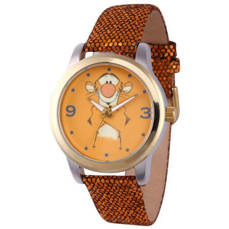 Pooh Tigger Women's Two Tone Alloy Watch, Gold Sequins Strap