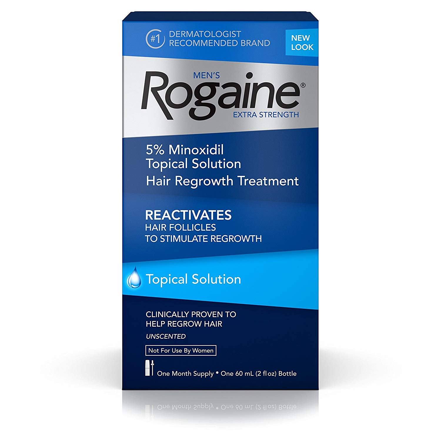 Men's  Extra Strength 5% Minoxidil Topical Solution for Hair Loss and Hair Regrowth, Topical Treatment for Thinning Hair, 1-Month Supply Rogaine - 1 Month Supply