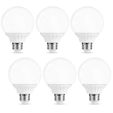 G25 LED Globe Vanity Light Bulbs, 45W Equivalent 6W, 500LM Soft White 3000K, E26 Base, Bathroom Vanity Lighting, LED Make Up Mirror Light, 6 Pack (3000k Led Globe)