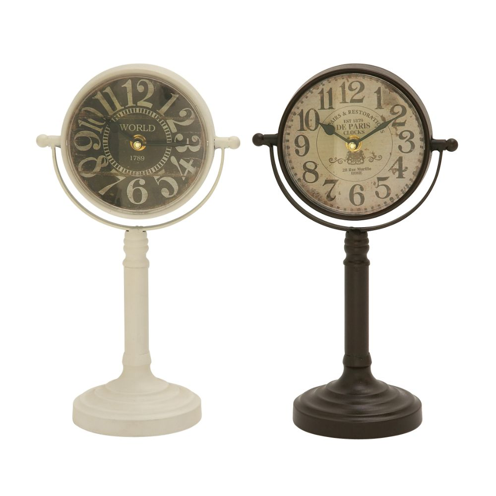 Click here to buy Attractive Metal Table Clock Assorted 2 by Benzara.