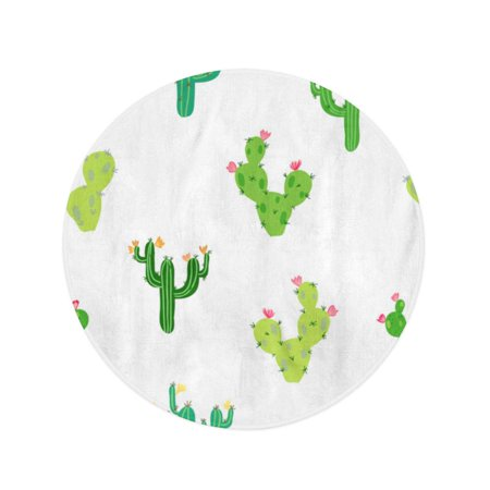 JSDART 60 inch Round Beach Towel Blanket Cute Tropical Cactus Flowers Inspired by Exotic Garden Succulents Travel Circle Circular Towels Mat Tapestry Beach Throw - image 2 of 2