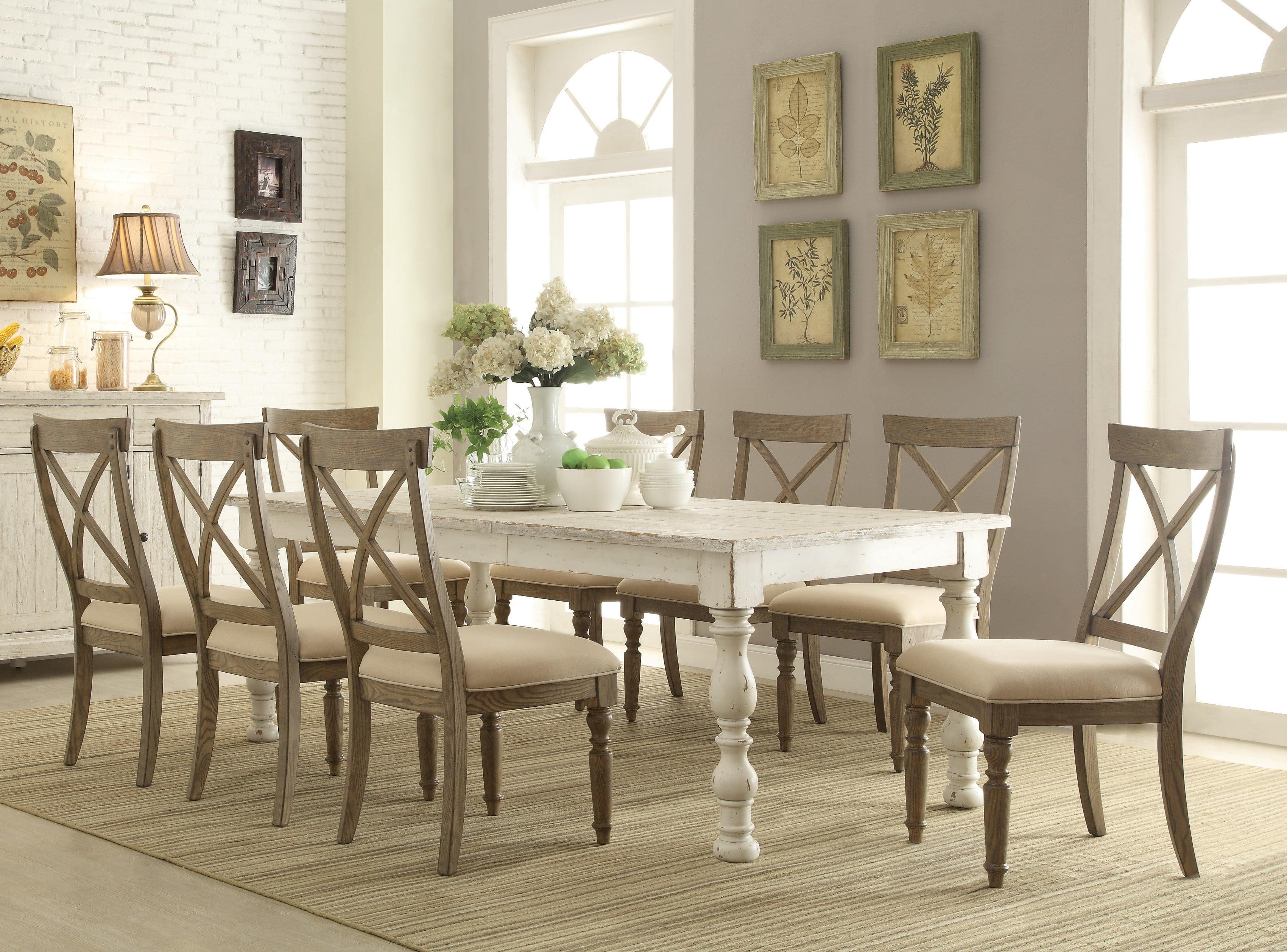 trani weathered worn white 9piece dining set with