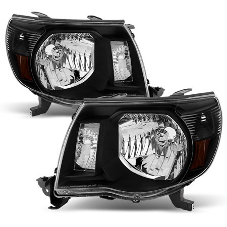 Fits 2005-2011 Toyota Tacoma Black Headlights Lamps Replacement 06 07 08 09 -