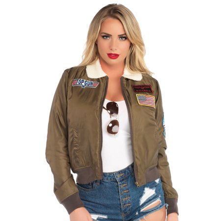 Top Gun Jacket (Women's Top Gun Licensed Bomber Jacket, Khaki,)