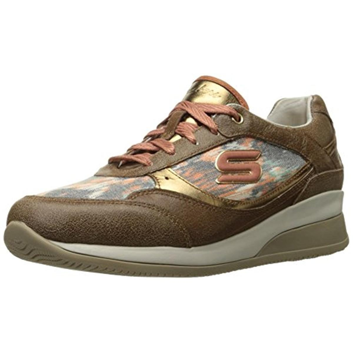 Skechers Womens Leather Wedge Fit Fashion Sneakers