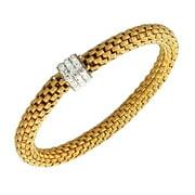 Stainless Steel Yellow Gold-Tone White CZ Stretch Bracelet