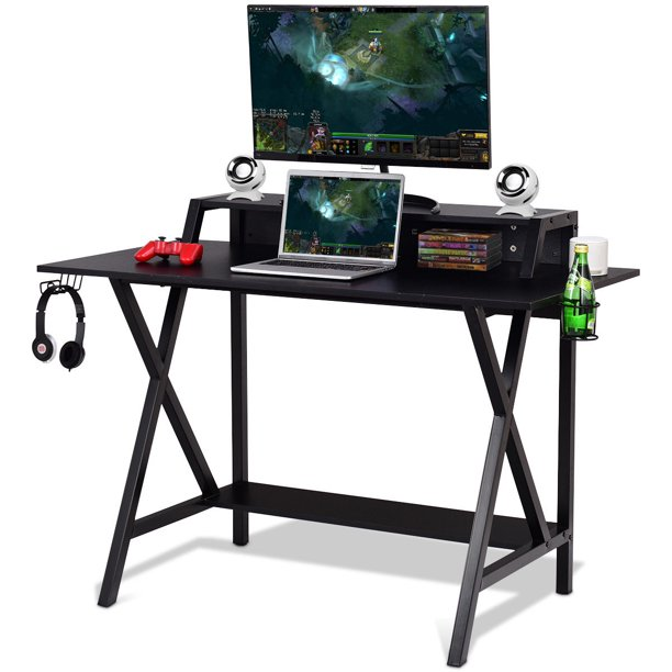 Gymax Gaming Desk with Cup Headphone Holder Power Strip