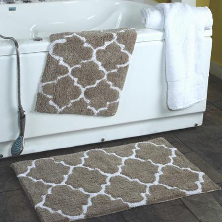 Affinity Home Collection 2 Piece Moroccan Trellis 100 Percent Cotton Bath Rug Set