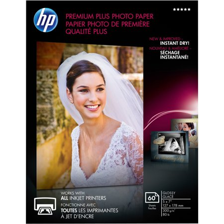 HP, HEWCR669A, Premium Plus 5x7 Photo Paper, 60 / Pack, White ()
