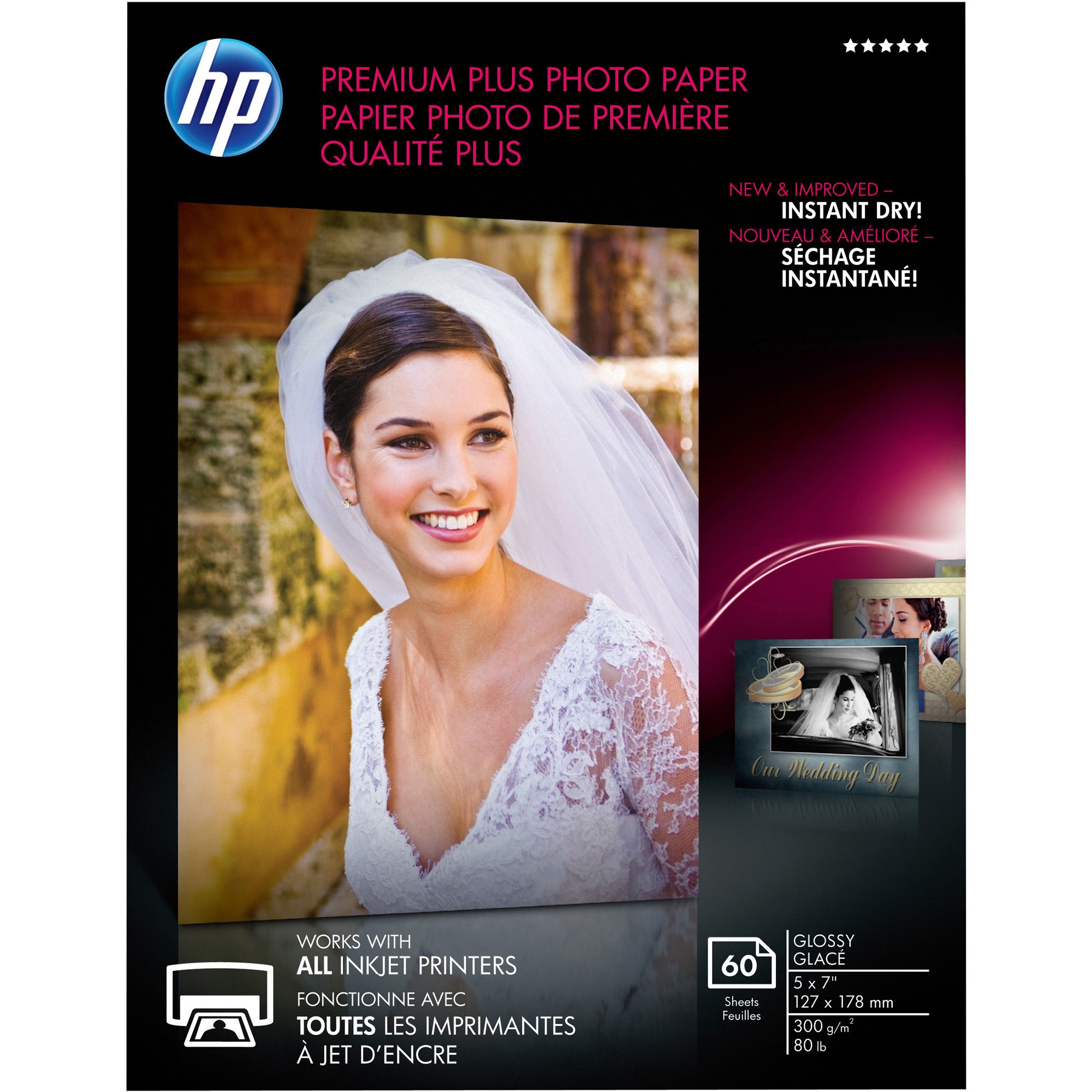HP Premium Plus Inkjet Print Photo Paper, White, 60 / Pack (Quantity)