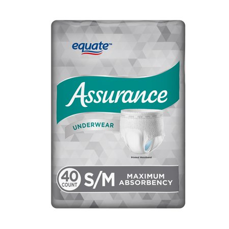 Equate Assurance Underwear for Men, Maximum, S/M, 40 Ct - Adult Mens