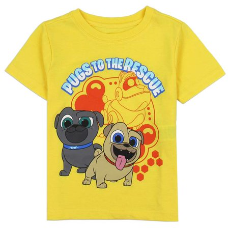 Disney Puppy Dog Pals Toddler Boys' T-Shirt In Yellow, Grey and Blue - Disney Boo Halloween Shirt