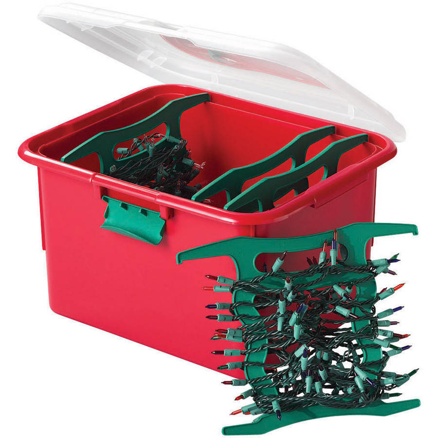 Homz Holiday Light Wrap Storage Box with 4 Cord Reels, Set of 6