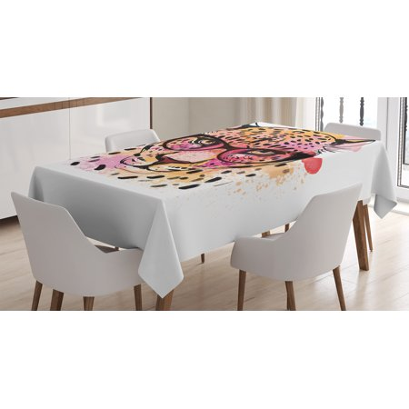Fashion House Decor Tablecloth, Watercolor Portrait of Leopard with Glasses Splashing Paint Style, Rectangular Table Cover for Dining Room Kitchen, 60 X 90 Inches, Orange Pink, by Ambesonne