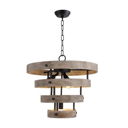 4 Light Wood Drum Chandelier in Matte Black and Natural Wood finish