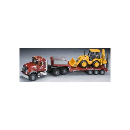 Flatbed W  Backhoe (Mack) Vehicle Toys by Bruder Trucks (02813) by Bruder Trucks