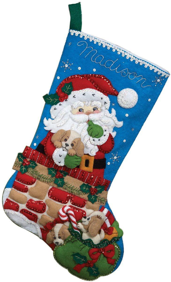 Christmas Stockings Kits.18 Inch Christmas Stocking Felt Applique Kit 86280 Santa S Secret Detailed Designs And Generous Embellishments By Bucilla