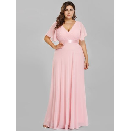 53317e76d44 Ever-Pretty - Ever-Pretty Womens Plus Size Short Sleeve Evening Cocktail  Party Prom Dresses for Guest 98902 Pink US18 - Walmart.com