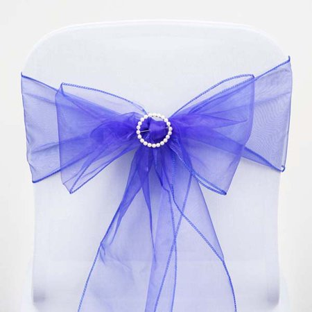 Efavormart 5pc x  Wholesale Sheer Organza Chair Sashes Tie Bows for Wedding Events Banquet Decor Chair Bow Sash Party Decoration](Blue Wedding Heels)