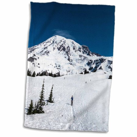 3dRose USA, Washington, Mt Rainier. Hiker on trail to Camp Muir - US48 MFR0039 - MFR - Towel, 15 by (Best Camping At Mt Rainier)
