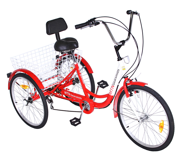 "bike 7 Speed 24"" 3-Wheel Adult Tricycle Gearsmith Red. ,bicycle tircycle"