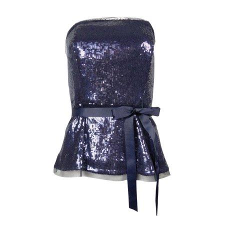 Alex Evenings Sleeveless - Alex Evenings Women's Belted Strapless Sequin Blouse