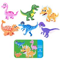 ToyWorld Children Toys 6-in-1 Box Puzzle Jigsaw Wooden Toys Cartoon Animals Puzzles Kids Educational Toy