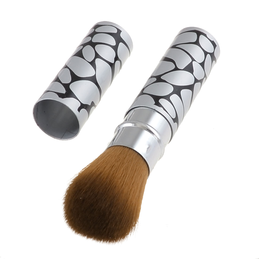 Block Stone Print Silver Tone Alloy Handle Cosmetic Retractable Brush