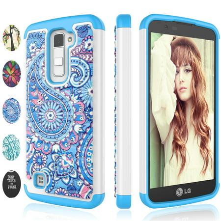 separation shoes 6d137 2be59 LG K10 Case, LG Premier LTE L62VL L61AL Case,LG K10 Case For Girls, Njjex  [Paisley Blue] Lovely Adorable Retro Pattern Bling Crystal Plastic Sturdy  ...