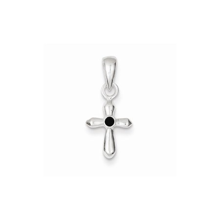 Roy Rose Jewelry Sterling Silver Dark Red Stellux Crystal Cross Charm
