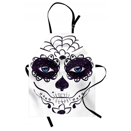 Day Of The Dead Apron Dia de los Muertos Sugar Skull Girl Face with Mask Make up Print, Unisex Kitchen Bib Apron with Adjustable Neck for Cooking Baking Gardening, Black