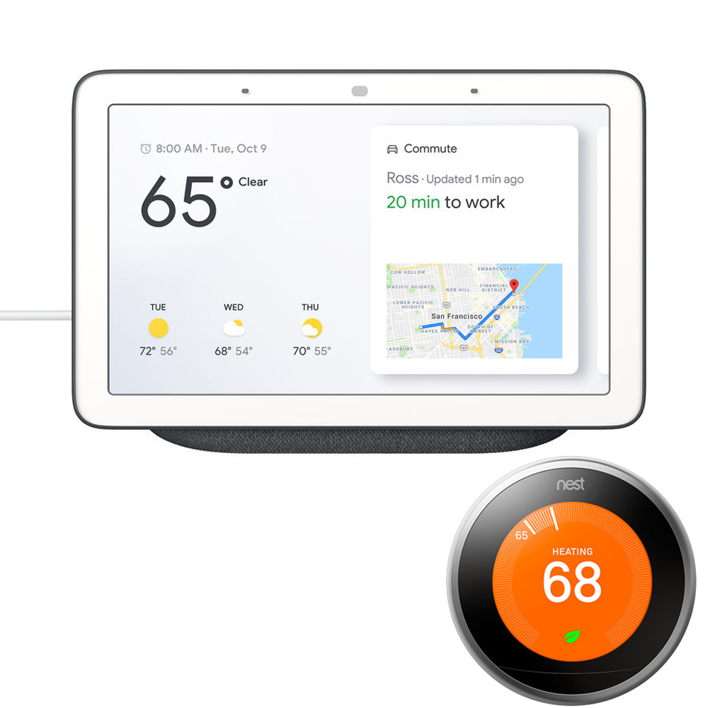 Google Home Hub with Google Assistant (GA00515-US) - Charcoal (6290306) with Nest Learning Thermostat - 3rd Gen - (Stainless Steel)