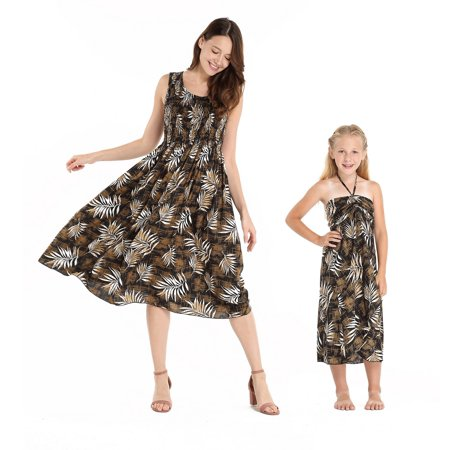 Butterfly Leaf Top - Mother & Daughter Matching Hawaii Luau Tank Elastic Dress Girl Butterfly in Leaves in Black 14