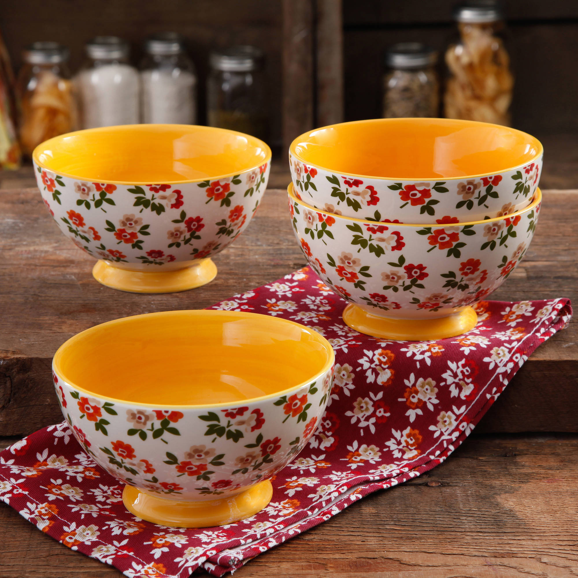 The Pioneer Woman Fall Flowers 6  Footed Bowl, 4-Pack