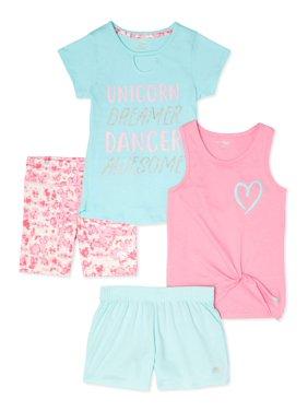 Marika Girls 7-12 Graphic Active T-Shirt, Tank Top, Bike and Mesh Shorts, 4-Piece Active Set