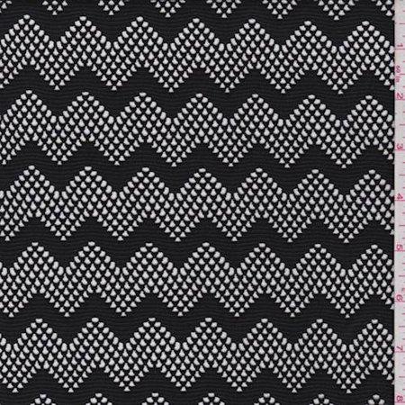 Black Chevron Mesh, Fabric By the Yard